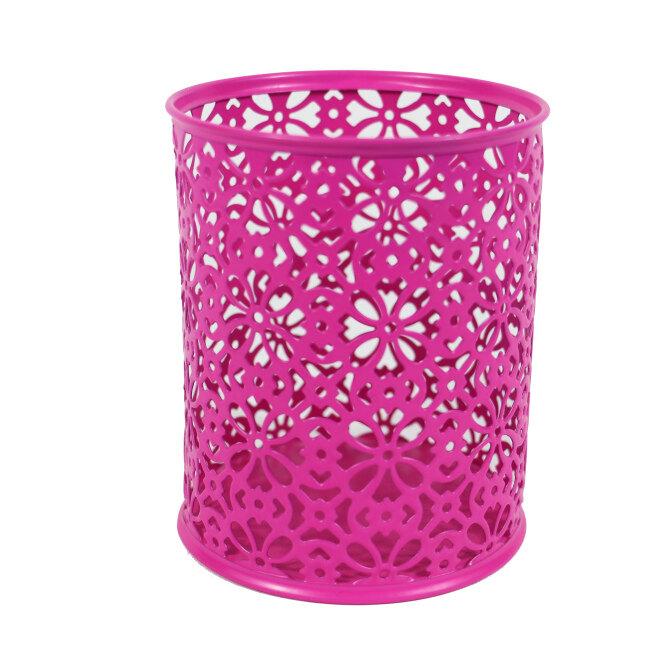 Hot selling school office home metal mesh desktop pink stamping flower pen holder