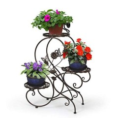 house outdoor decoration 3 tiers Round Chocolate color planting flower pot electroplating metal iron display plant stand