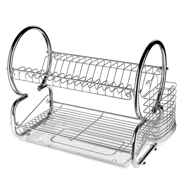 Home Kitchen Iron Kitchen Storage Chrome plated 2 Tier Dish Drainer Drying Rack with  removable Drainer board