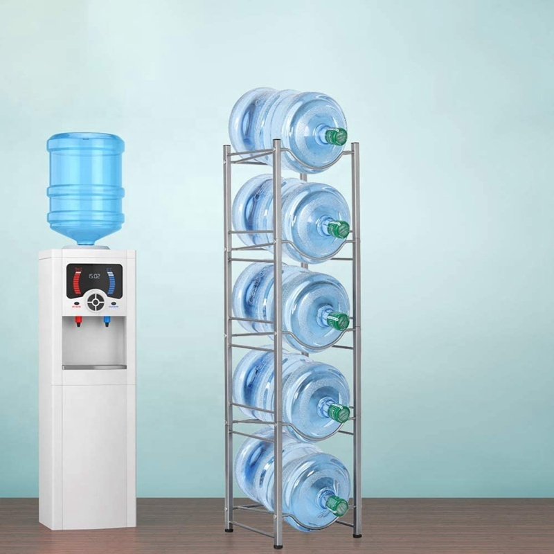 Powder Coated Metal Wire 5 Gallon Display Water Bottle Stand Rack for Storage at Home or Office