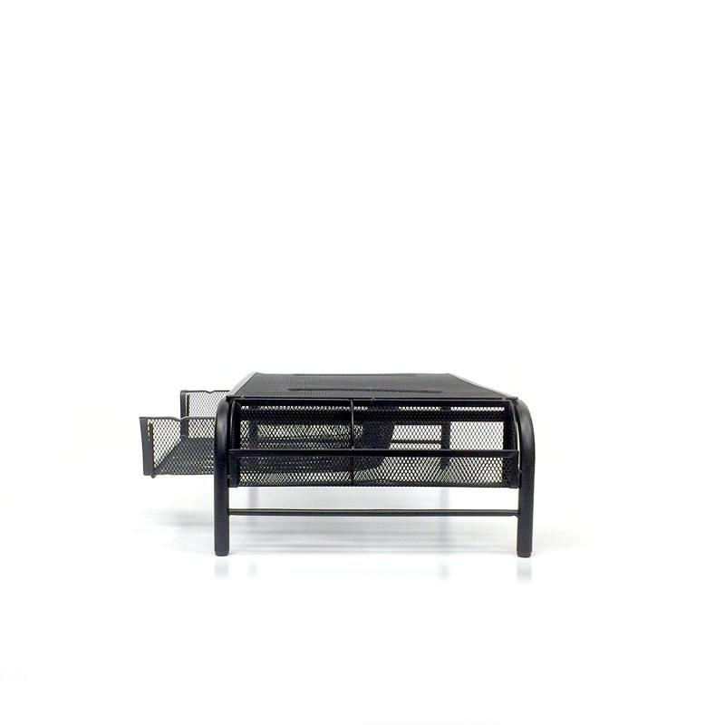 Metal mesh desk organizer computer desk laptop monitor stand  with drawers for home and office