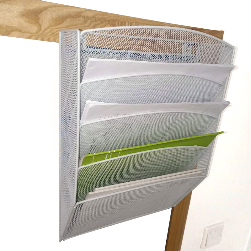 2018 wholesale office school 5 tier mesh wall mounted hanging document magazine file rack