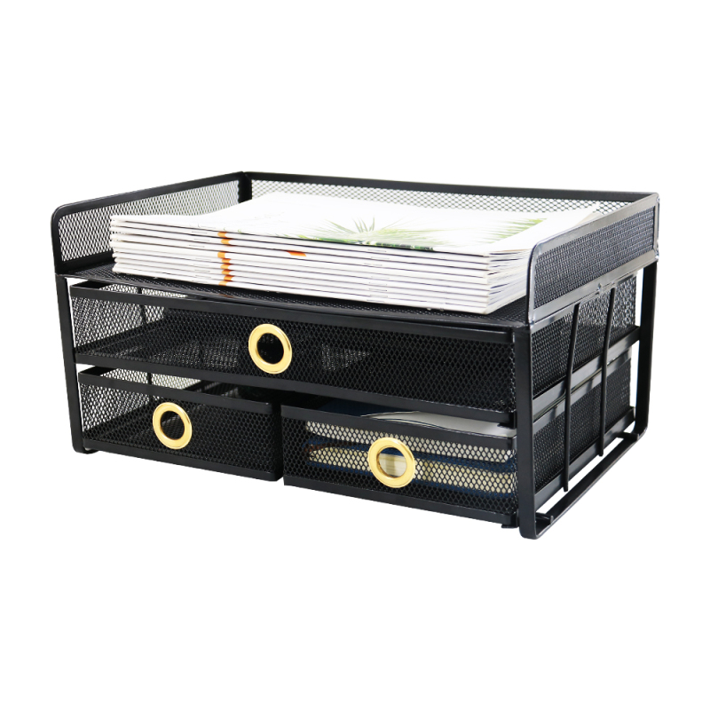 Wholesale Supply Home Bedroom Tabletop Divider Partition Board Mini Metal Mesh Storage Drawers