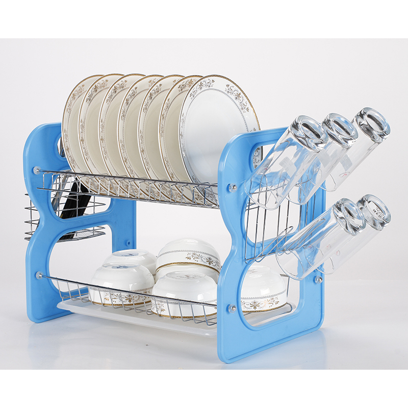 Amazon Hot Sale Wall Mounted Organizer Plastic Kitchen Plated Chrome Dish Dryer Dripping 2 Tier Dish Rack over The Sink