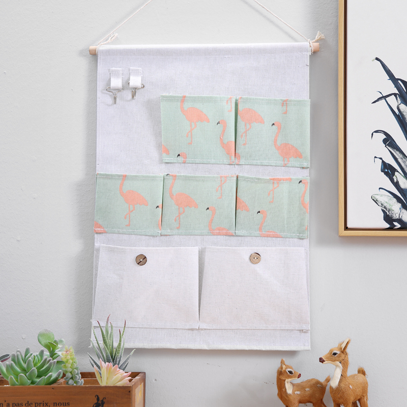 Wholesale  Home 7 Pockets 3 Layers cotton storage hanging wall organizer bag