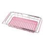 Kitchen Stainless Steel Powder Coated Pink Folding Dinnerware Dish Drying Rack