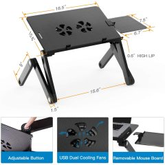 Household Desktop Multi-functional Office Portable Table Foldable Metal Aluminium Adjustable Laptop Stand With Mouse Pad Folding