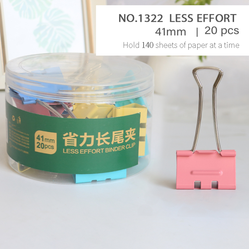 Logo Less Effort 41mm Multiple Color Large Metal Wire Paper Clamp Binder Clips