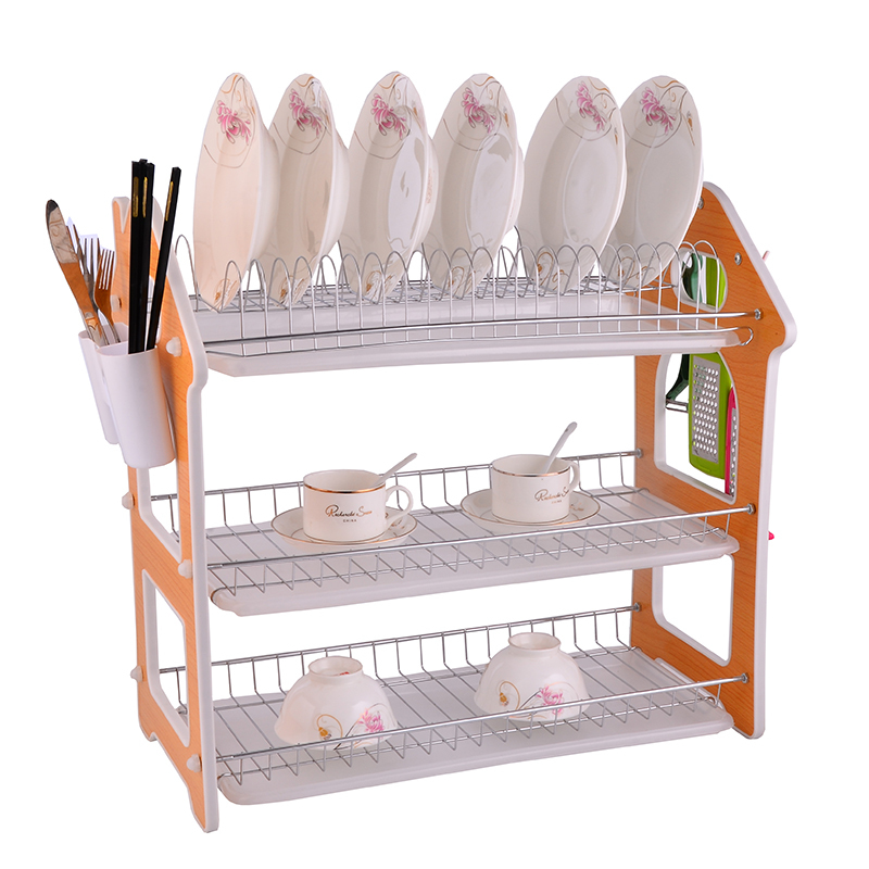 Home kitchen organizer 3 tier metal wooden dish drainer rack with hooks and chopsticks holder