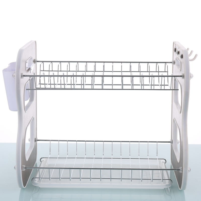 Wholesale High Quality Kitchen Durable Wooden Panel Side 2 Tier Metal Dish Rack