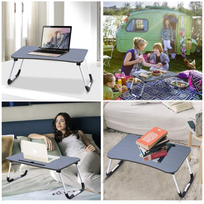 Wideny Home Working Multifunctional Laptop Table For Bed Tray Foldable Lap Desk Stand With Cup Holder Breaskfast Reading Book