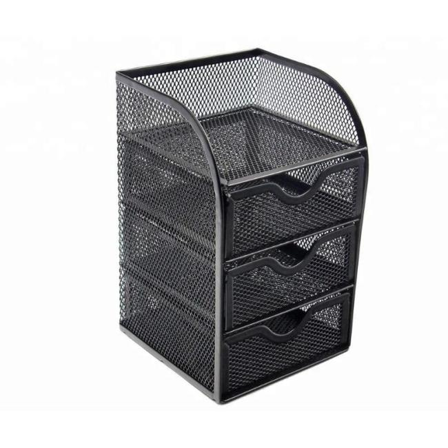 Desk Drawer Organizer with 3 Small Bins and 1 Long Bin White Blue Black Metal Mesh Desk Organizer Office