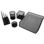 Office Stationery Set of 5 file trays Punched Powder Coated Black Table Desktop Metal Wire mesh Stationery set for office