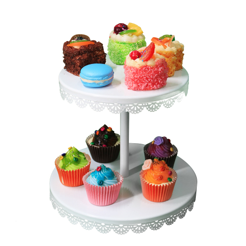 Party decorating fancy foldable iron plate candy bread metal steel birthday wedding wire cup cake stand