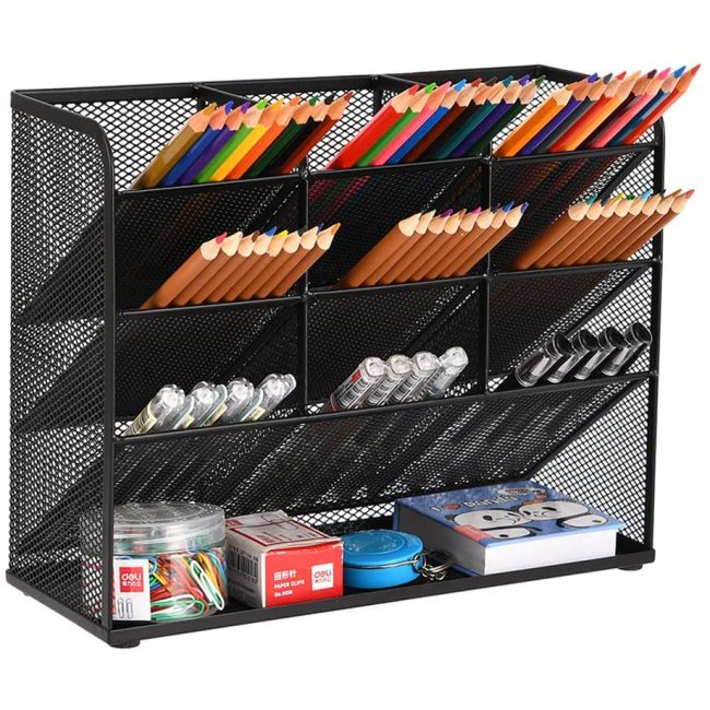 Home Office Art Supplies Mesh Black Multi-Functional Pen Desk Organizer for Stationary Holder Storage Rack School