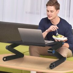 Home Working Use Aluminium Desktop Adjustable Portable Foldable Laptop Table Desk with Mouse Pad Cooling Fan Computer Stand