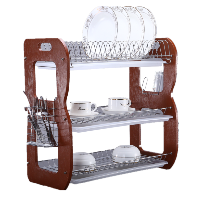 Amazon Hot Selling Kitchen 3 Tier Chocolate color Stainless Steel  Dish Rack