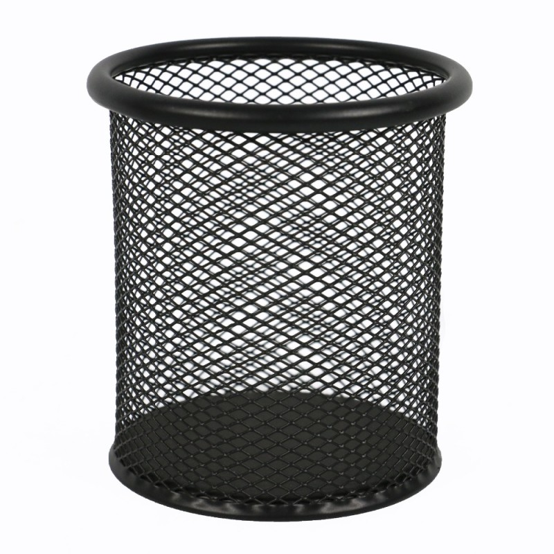 Wideny promotional wholesale stationery table desk desktop multifunction metal mesh iron black pen holder pencil holder