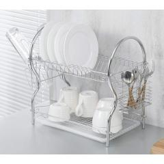 Stainless Steel Chrome Plated Bowl Drying 2 Tier Metal Dish Rack with Drainboard Cutlery Cup Organizer