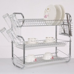 2019 Hot Sale wholesale 3 layer folding solid Stainless Steel dish rack in Kitchen