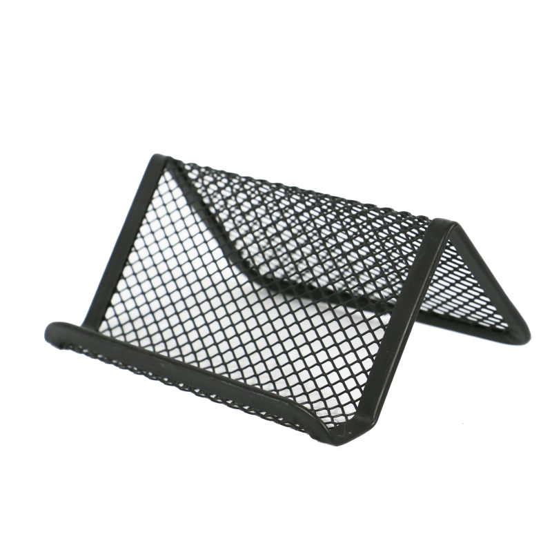 Wideny office school supply black powder coated welding wire mesh metal desktop name card holder for id Business Card