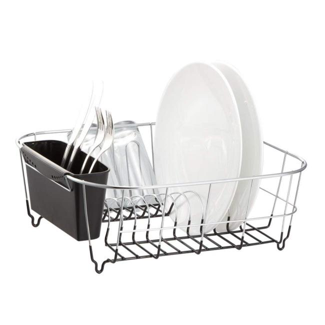 Wideny Black Chrome Plated Steel Small Kitchen Dish Drainer Rack For Bowl Tableware and Cup