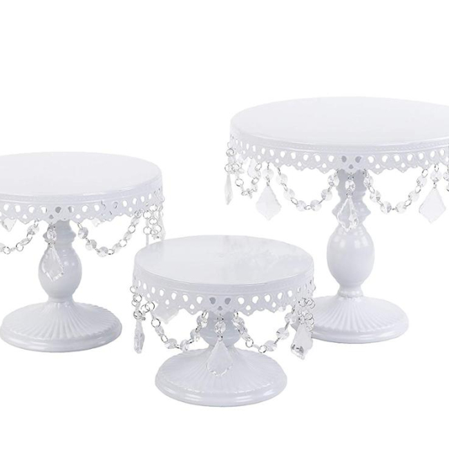 Set of 3 Cupcake Stand Round White Metal Iron Cake Stand With Crystal Beads for Wedding Party Birthday