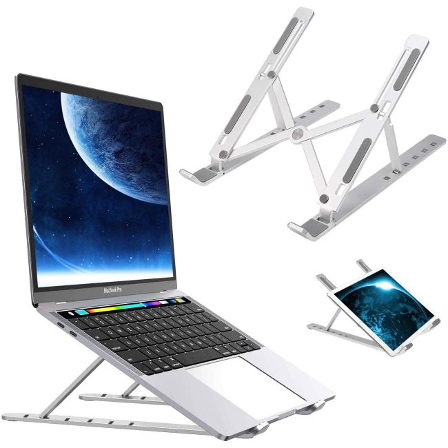 Aluminium Foldable Standing Desk monitor Riser for MacBook Pro Air  Notebook Thinkpad with Adjustable Height & Angle Blocker,