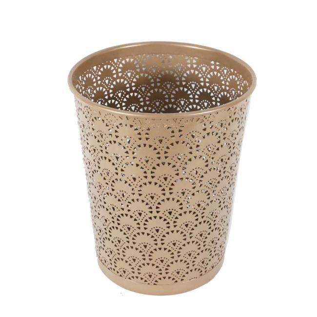 Office home school bank flower pattern wire mesh metal 1100 paper 3 litres waste bin