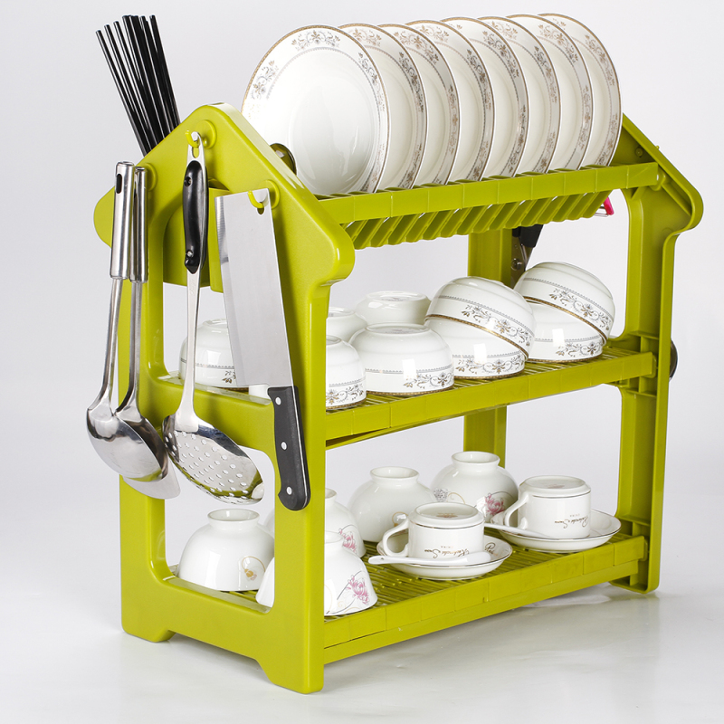three tier kitchen cabinet  bowl drying display over sink durable plastic dish rack with drainer board