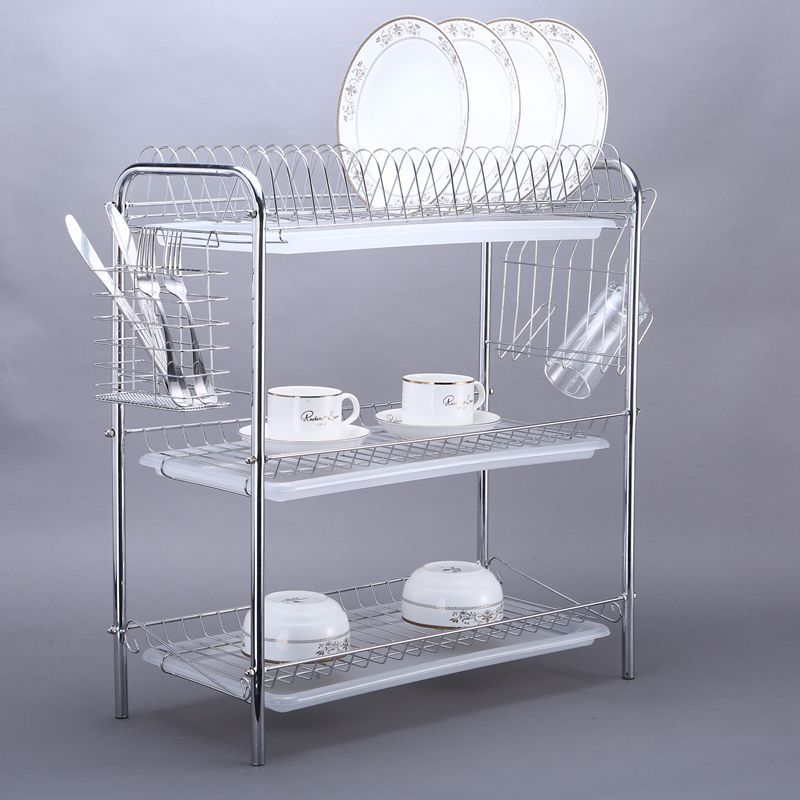 China kitchen accessory supplier WIDENY stainless steel kitchen utensil rack 3layer drainer dish storage holders