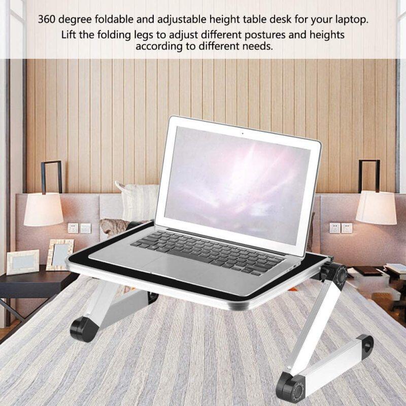 360 Degree Adjust Height Portable Desk Table Foldable Adjustable Pad Laptop Holder for Desktop Stand Home Working on Bed