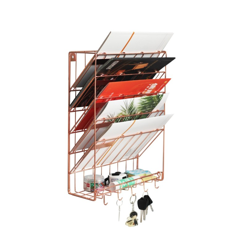 Metal gold Office Desk Organizer With Sliding Drawer, double Document tray and 5 Stacking File Sorter Section