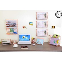 Storage Rack holders Hanging File Organizer office stationery desktop sets Rose Gold metal wire stationery set office