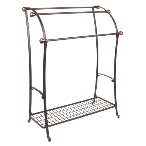 New design hotel bathroom corner wrought iron metal wire floor free standing double dryer bath towel rack