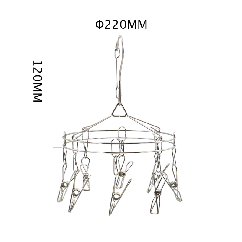 Hot Sale Removable Metal Drying Racks Round Shape Stainless Steel Saving Cloth Hanger with 8 Clip