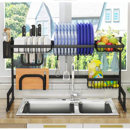 Wholesale Supplies 2 Layer 201 Stainless Steel Over The Sink Draining Dish Rack for Storage Tableware kitchen