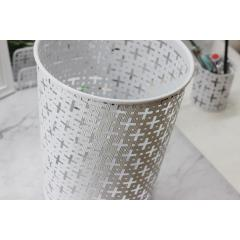 Wholesale big size office home  paper trash garbage round  metal waste bin with pattern design