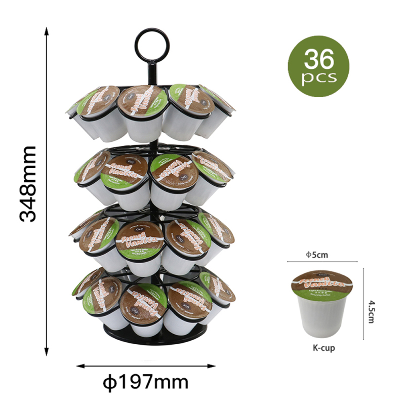 Kitchen Office Home Four Layers 36 holes  Rotating Wire Coffee Pod Holder for K-cup