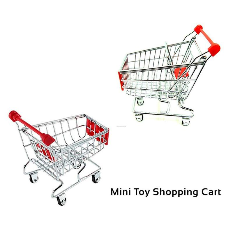 Amazon Hot Sale Adjustable Handle Metal Cover Stores Disassemble  Mini Shopping Cart for Party Desk