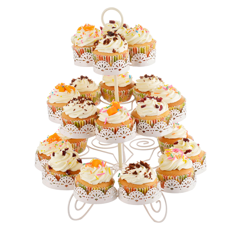 3-Tier Pure White Elegant Dessert Cupcake Stand - Pastry Serving Tray Platter for Tea Party