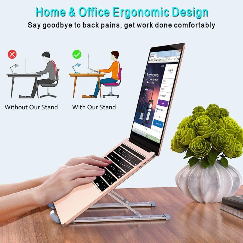 Amazon Desktop Adjustable Portable Foldable Ergonomic Aluminium Laptop Stand for Household Working Book Phone Desk Holder