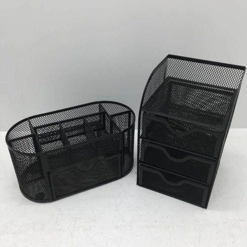 Wideny quality desktop each set in one pack black mesh office organizer set for desk