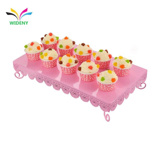 Customized New square wholesale party delicious for pink color cake stand