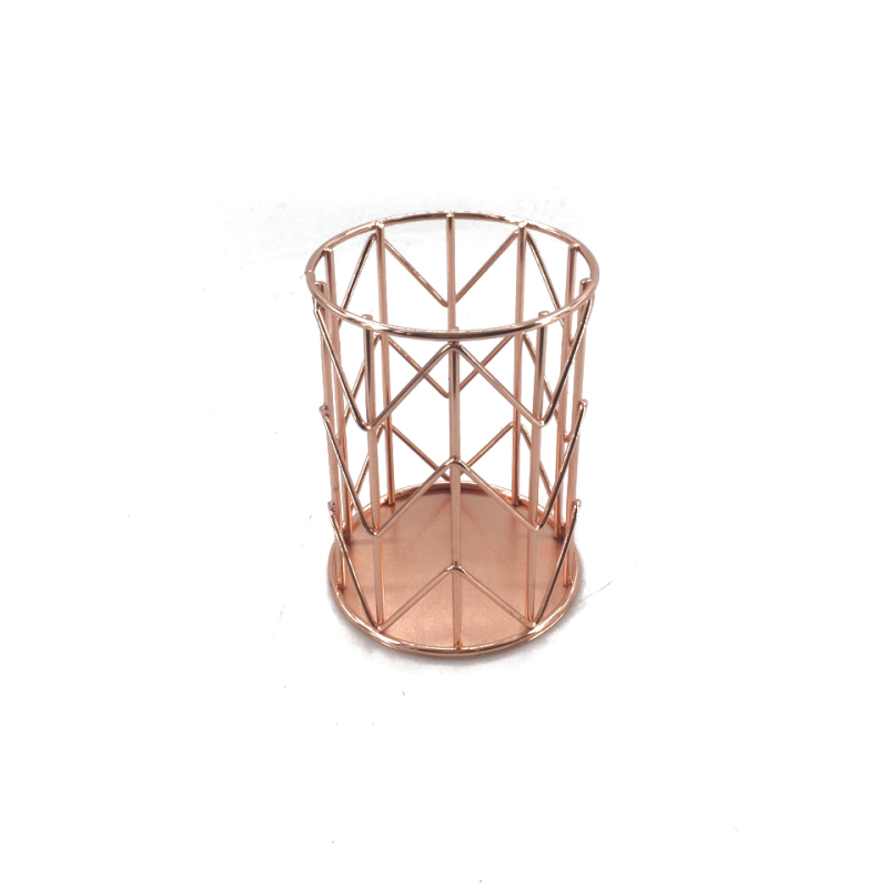 School office desk metal wire mesh rose gold pencil storage pen cup holder