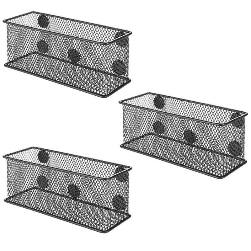 Office Stationery Organizer set of 3 pcs desktop hanging Table Desk Metal Wire Mesh Magnet Magnetic Storage Basket for fridge