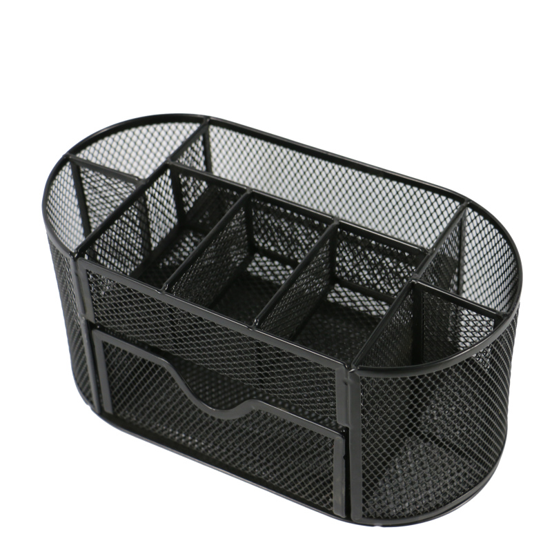 wholesale Multifunctional Office stationery iron wire metal mesh desk organizer with drawer