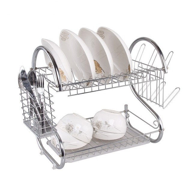 Custom S Shape Stainless Steel Foldable Dish Racks For Hot Sale 2 Tiers Cup Drying Holder