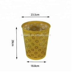 Supply office household hotel bathroom daily use items open top yellow metal iron innovative trash can for storage rubbish