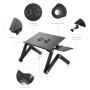 Black Foldable Adjustable Laptop Desk, Portable Aluminum Laptop Stand, Ergonomic Laptop Table with 2 CPU Cooling Fans